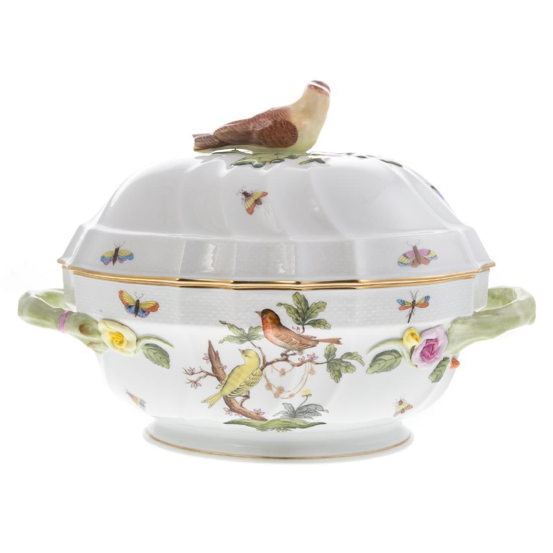 Herend Rothschild Bird soup tureen and platter - 5