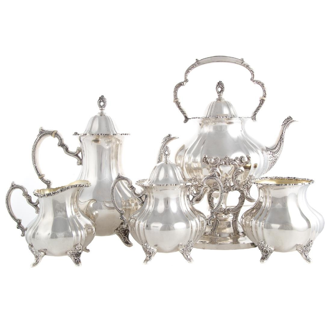 "Poole ""Lancaster Rose"" Sterling Coffee/Tea Service"
