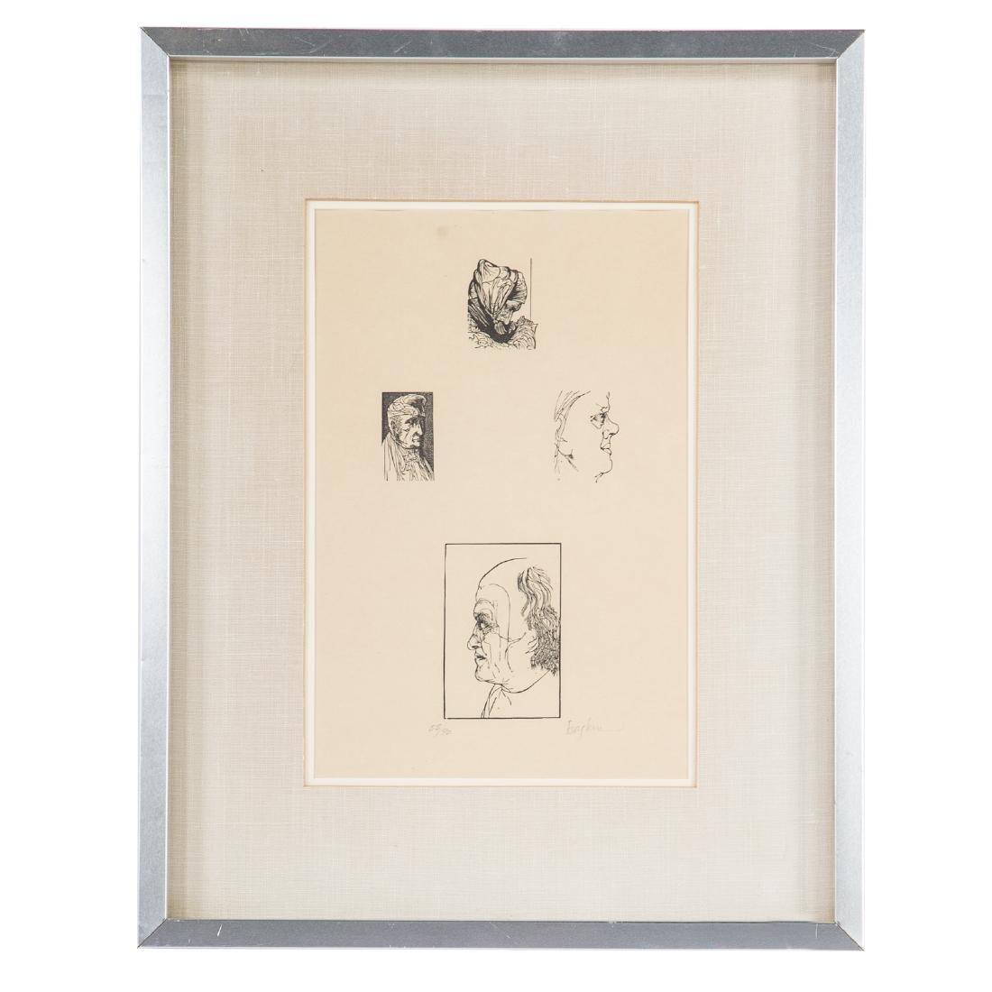 "Leonard Baskin, ""Four Artists,"" wood engraving"