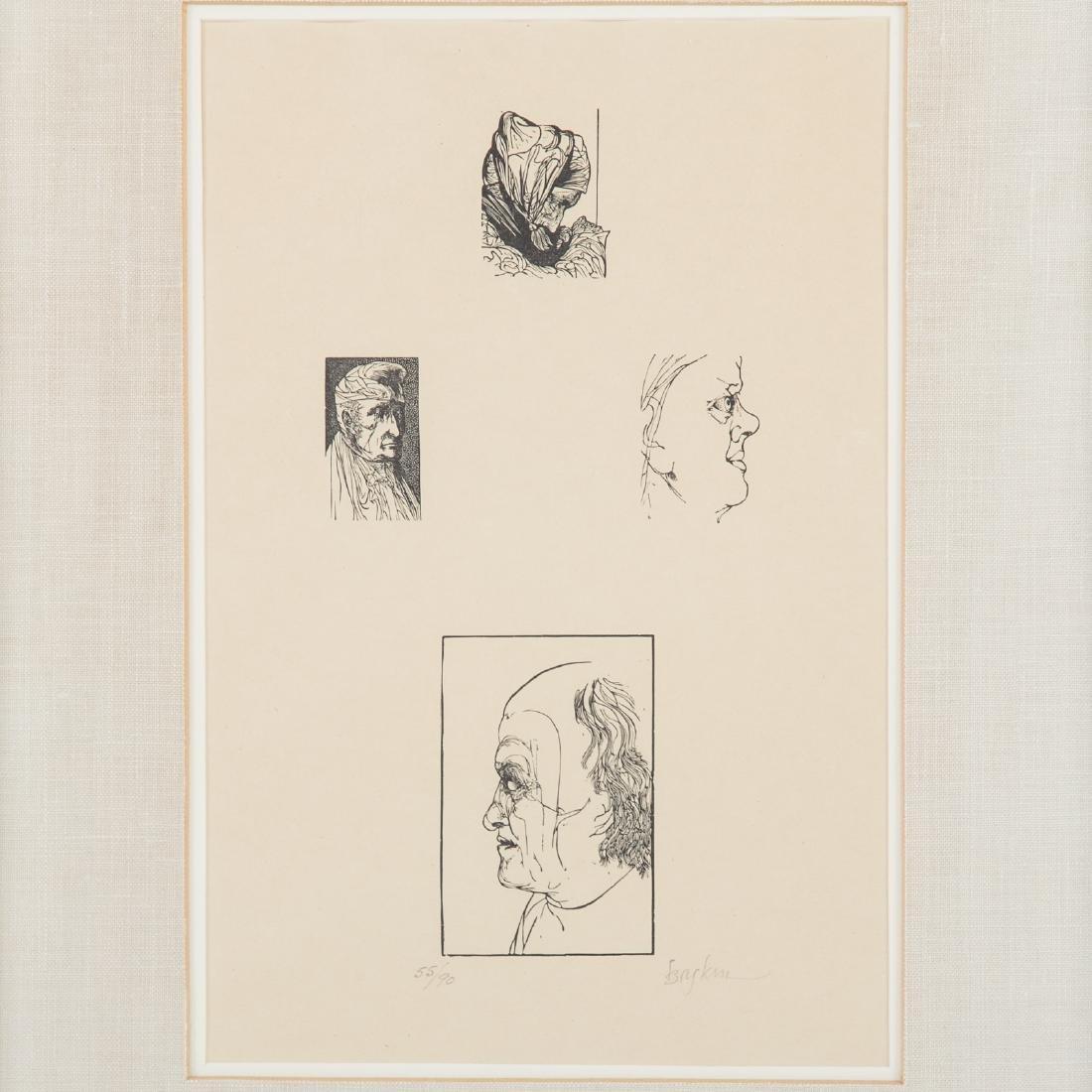 "Leonard Baskin, ""Four Artists,"" wood engraving - 2"