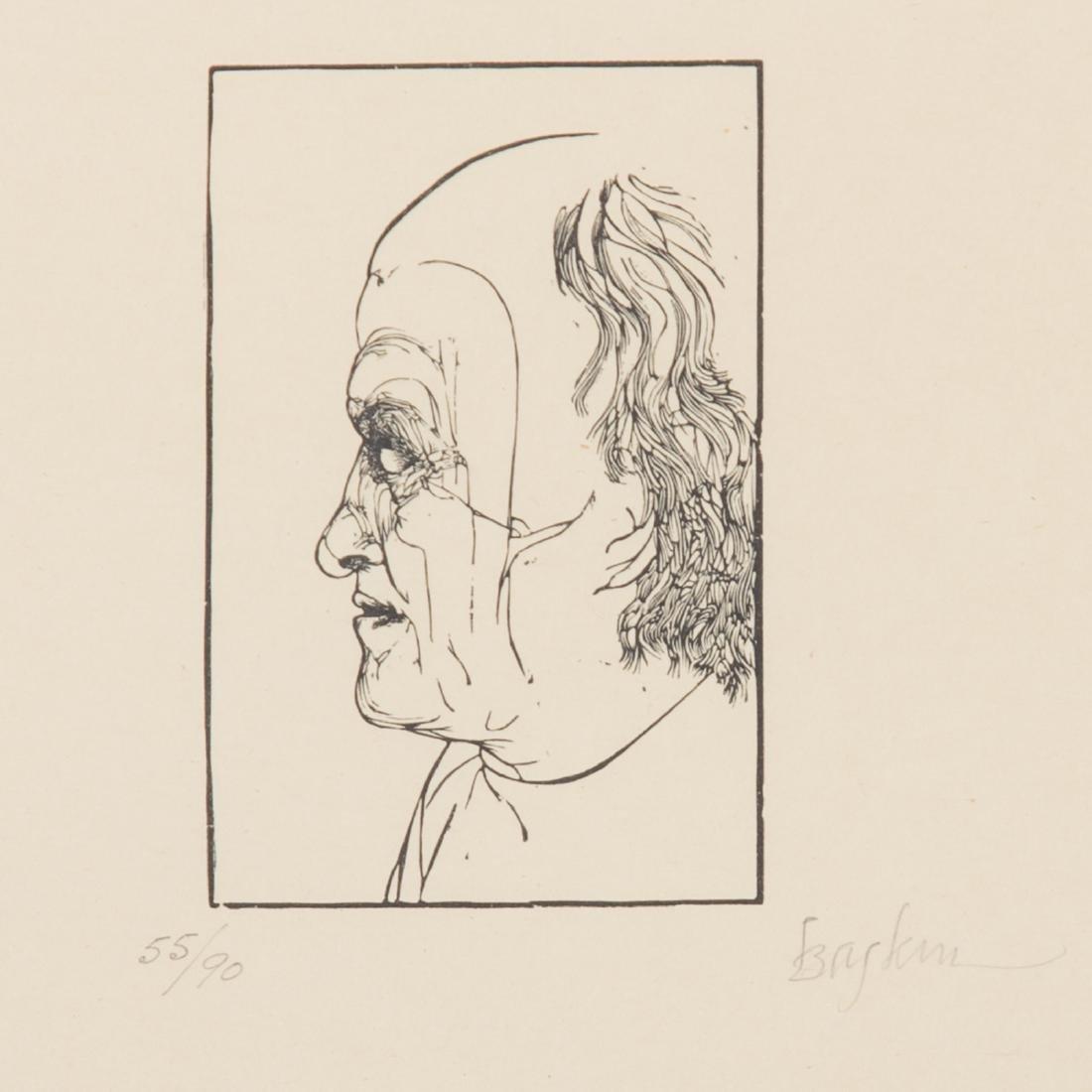"Leonard Baskin, ""Four Artists,"" wood engraving - 3"