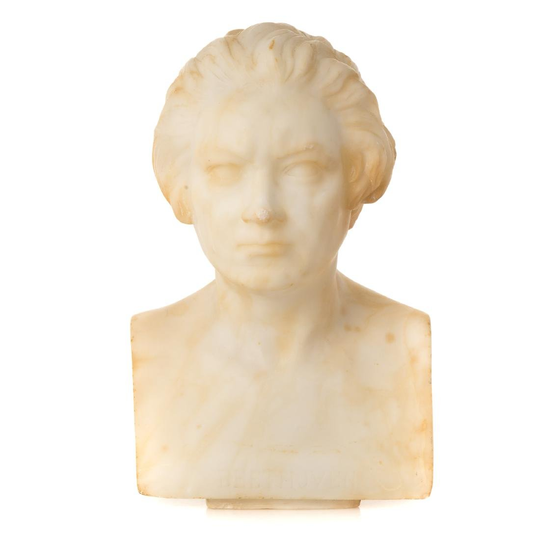 Continental Carved Marble Bust of Beethoven