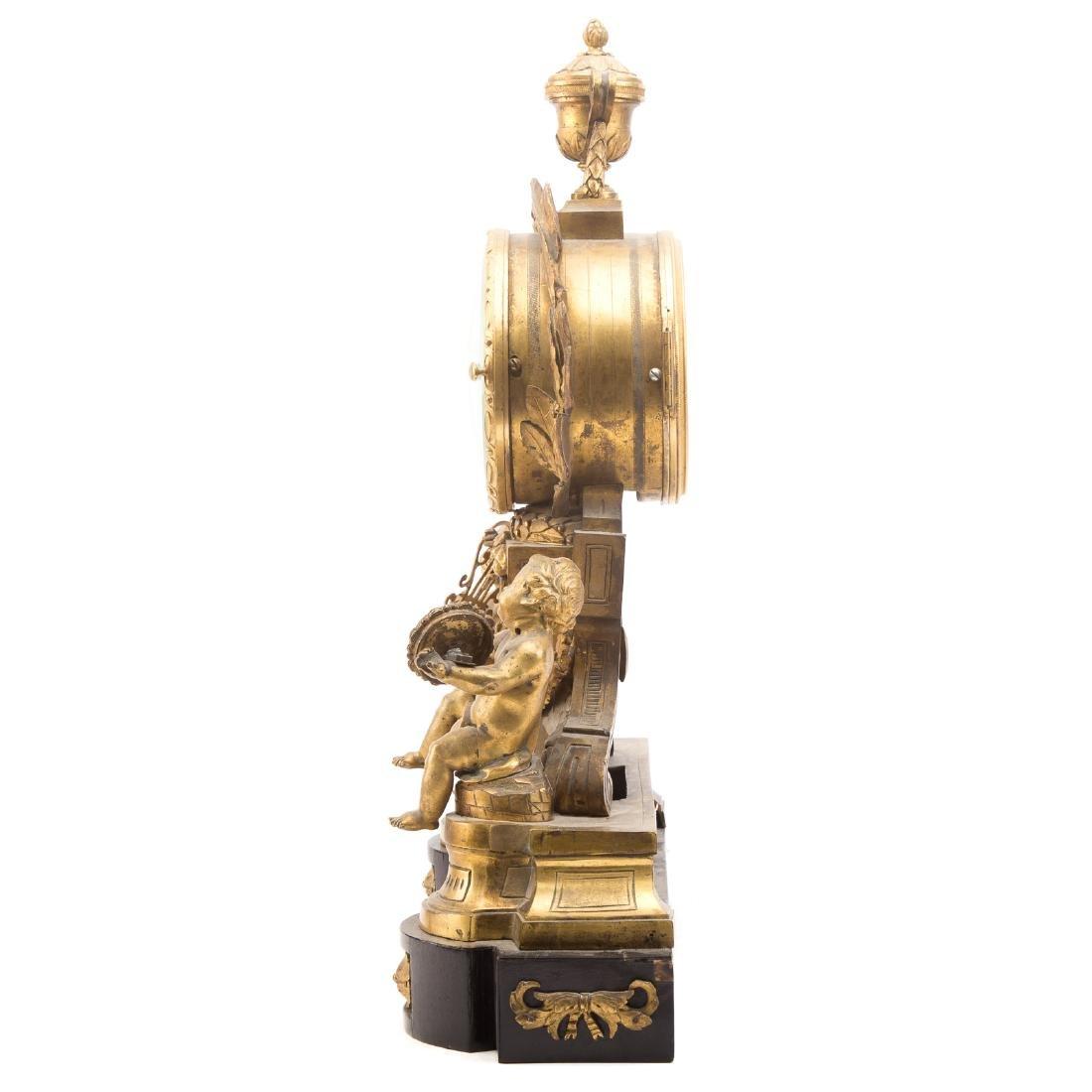 French Gilt Bronze Mantle Clock - 5