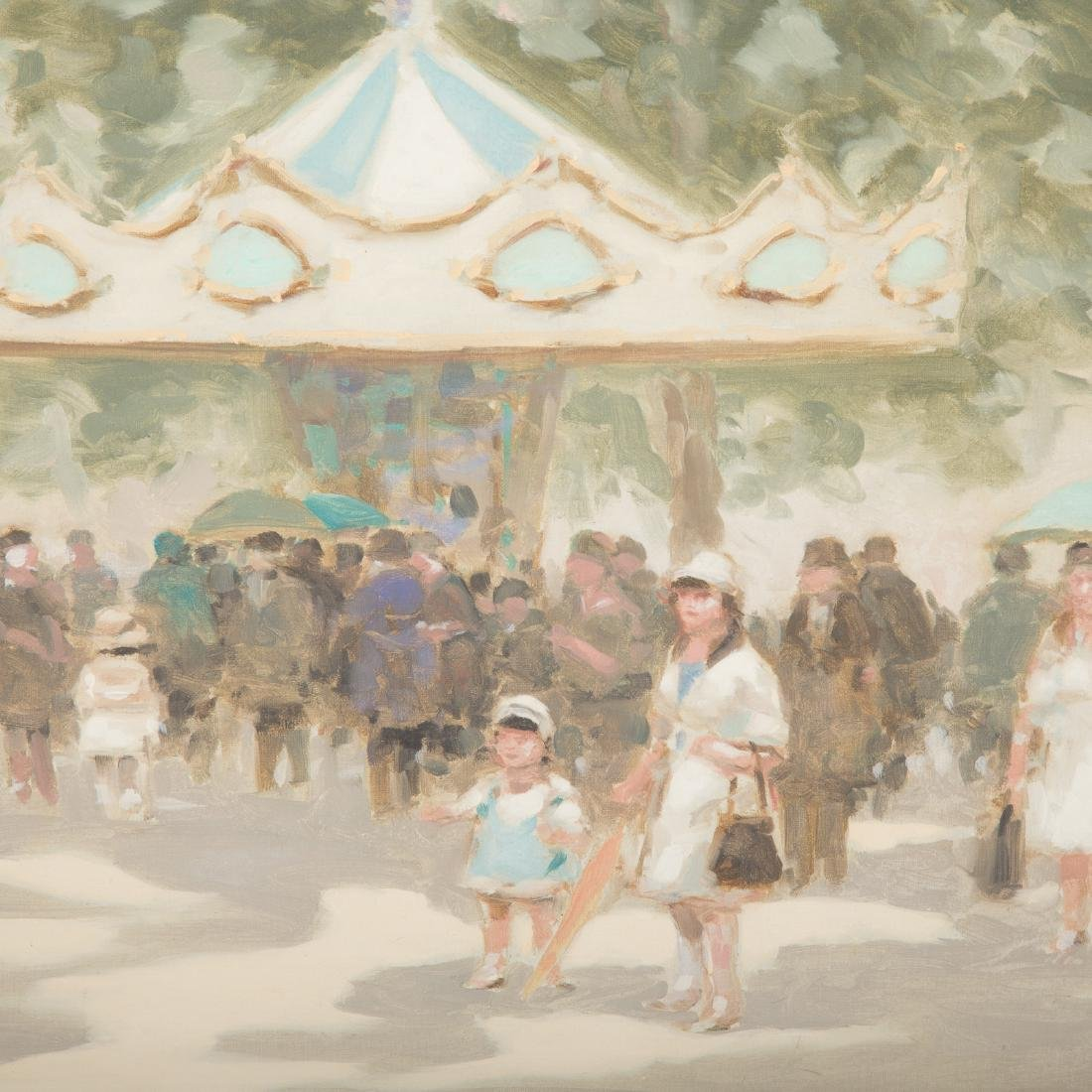 """Andre Gisson. """"At the Carousel,"""" Oil on Canvas - 2"""