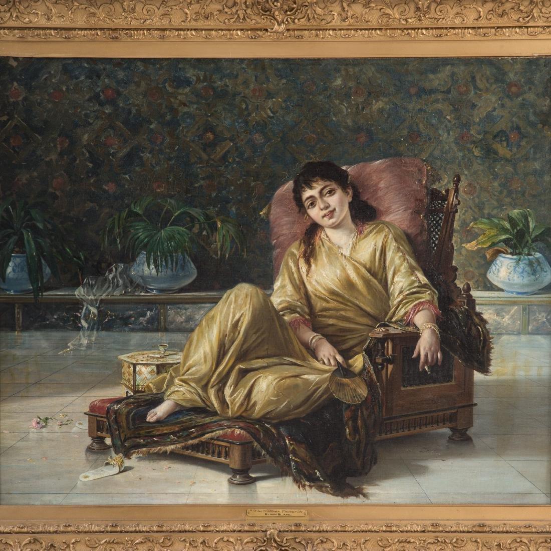 """Manner of von Blaas. """"The Sultan's Favourite,"""" Oil - 2"""
