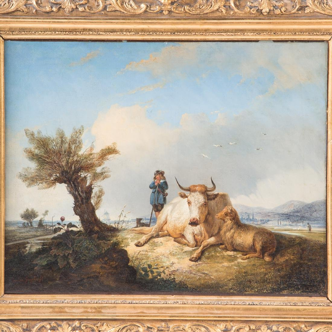 Jacques van Gingelen. Cow and Sheep in Field, Oil - 2