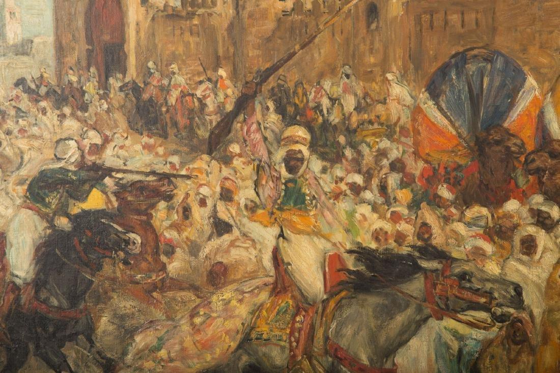 Pierre Gourdault. Arab Battle Scene, Oil on Canvas - 2
