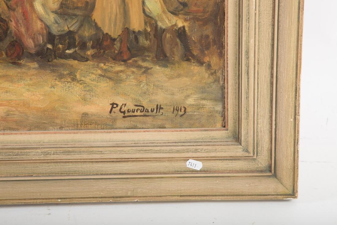 Pierre Gourdault. Arab Battle Scene, Oil on Canvas - 3