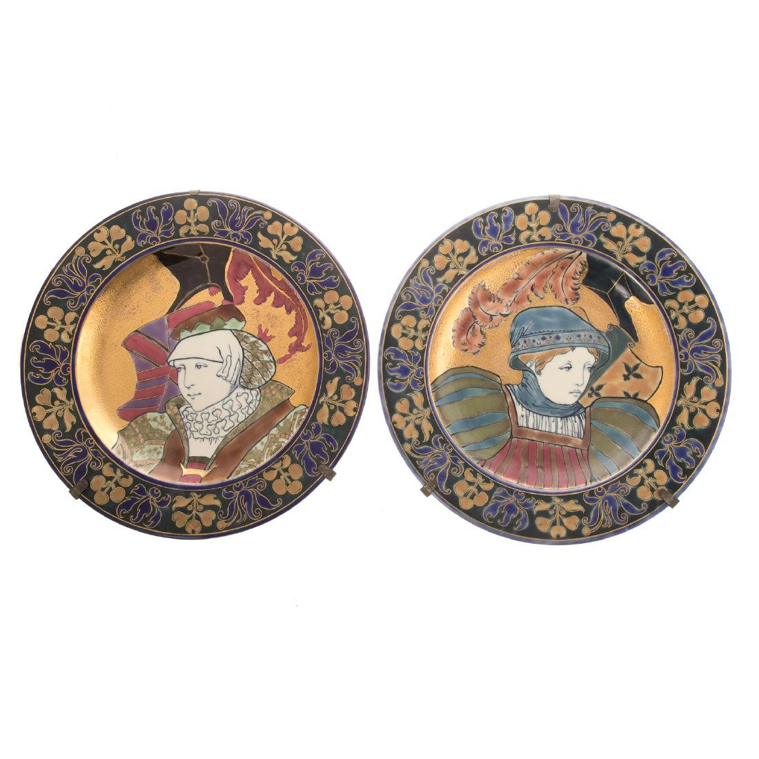 Pair of Zsolnay Art Nouveau Chargers