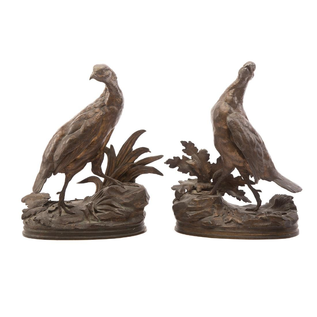 Jules Moigniez. Pair of Partridges, Bronze