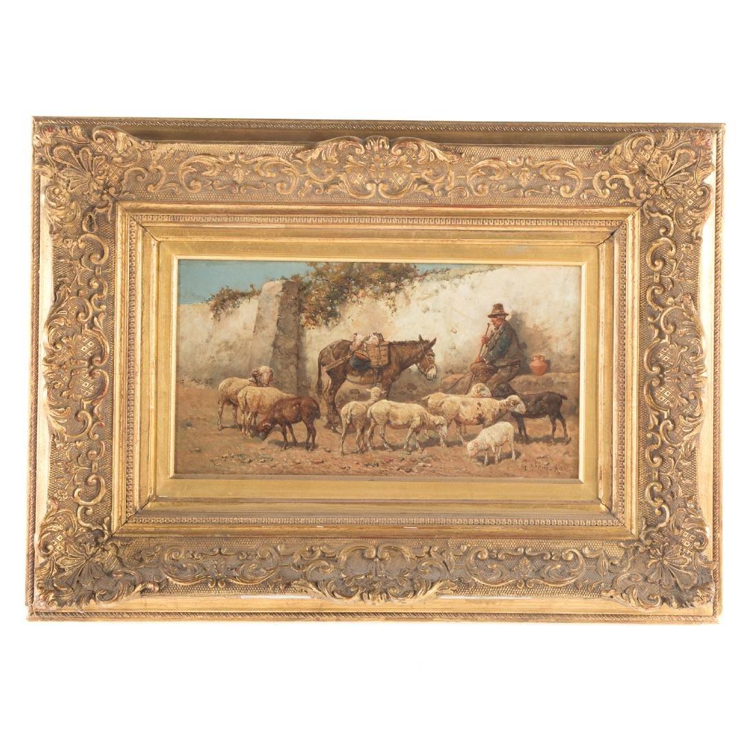 "Giuseppe Gabani. ""Shepherd with Donkey,"" Oil"