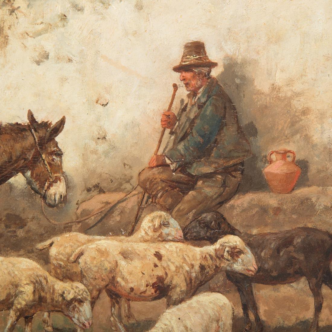 "Giuseppe Gabani. ""Shepherd with Donkey,"" Oil - 2"