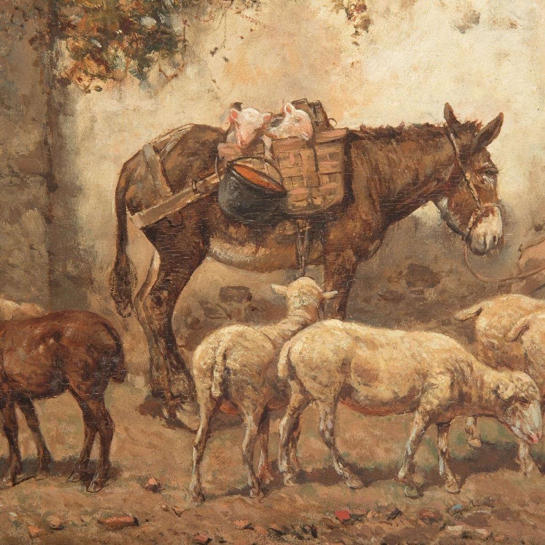 "Giuseppe Gabani. ""Shepherd with Donkey,"" Oil - 3"