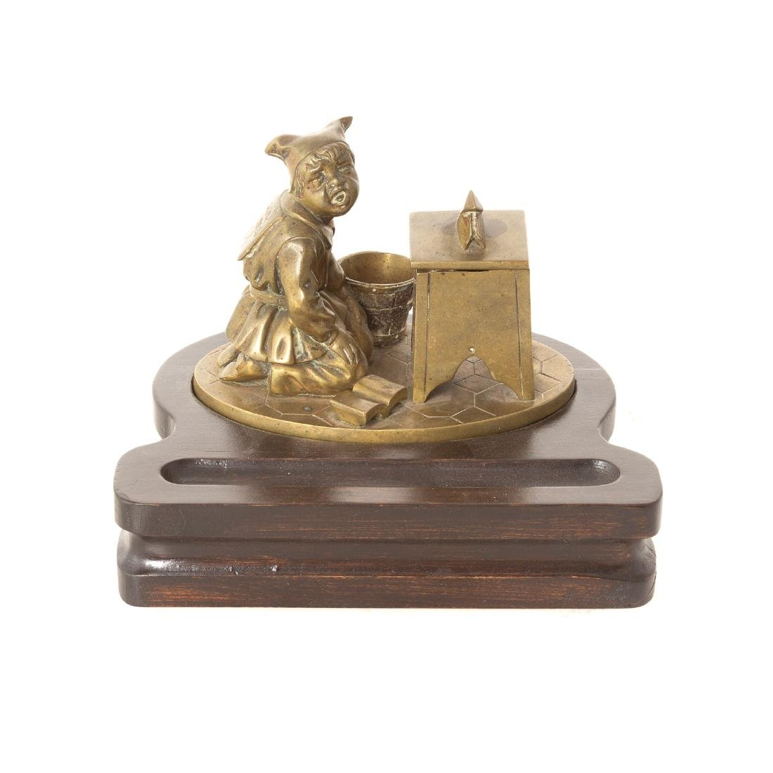 Continental bronze figural inkwell