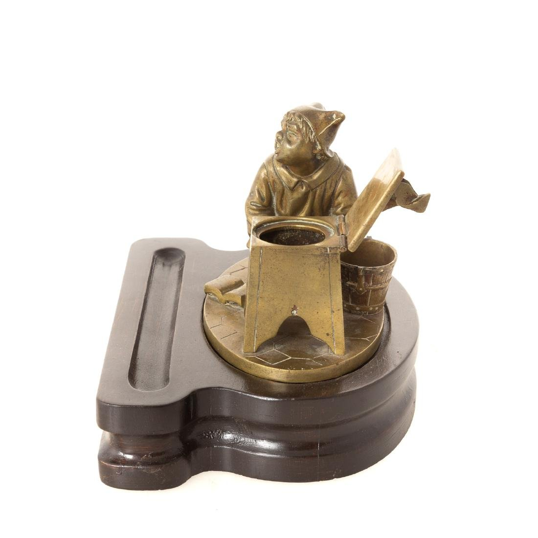 Continental bronze figural inkwell - 2