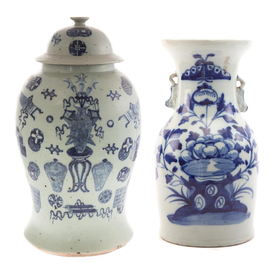 Two Pieces Blue and White Chinese Export Porcelain
