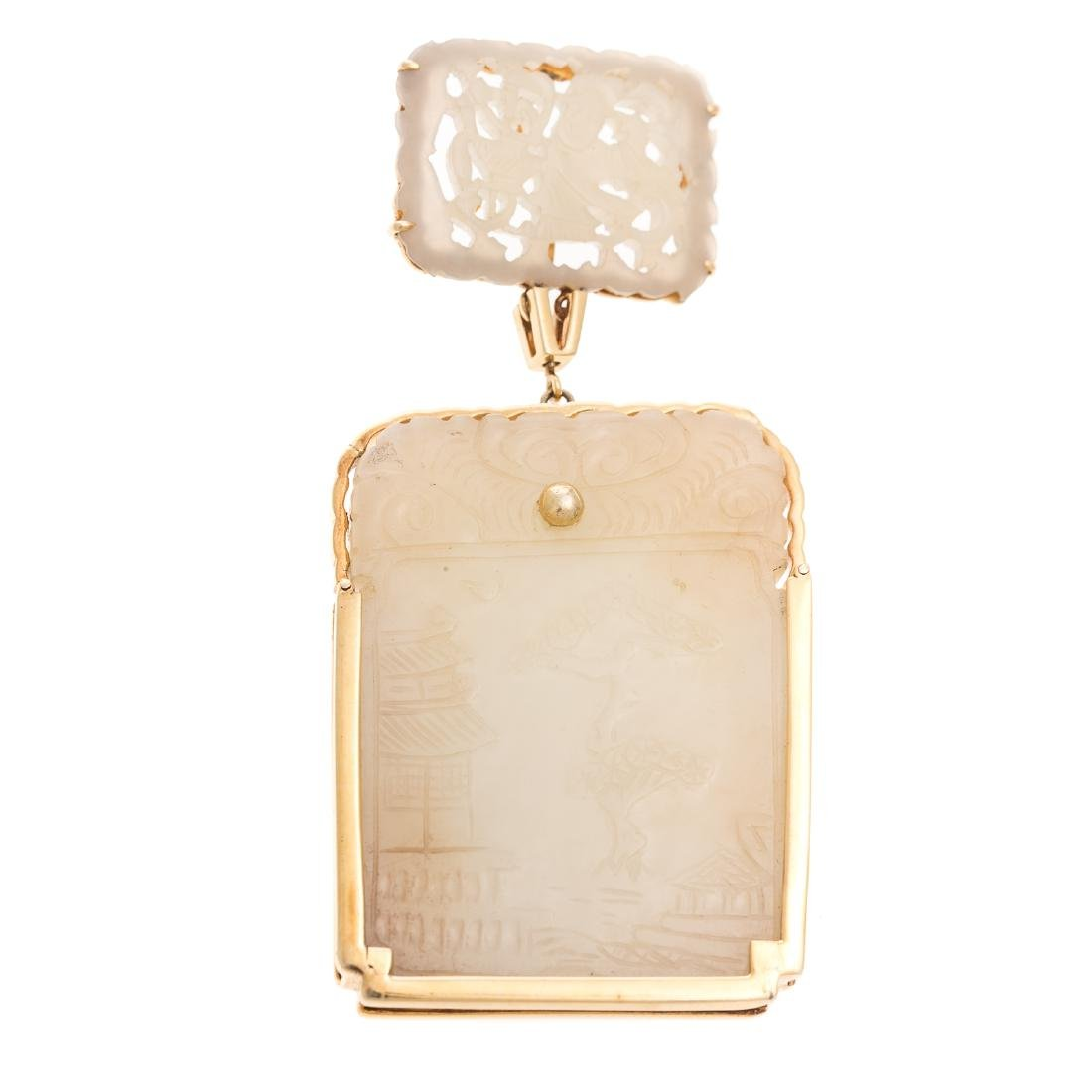 A Chinese Jade Plaque Mounted in 18K Gold