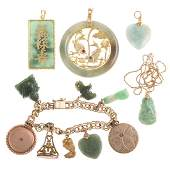 A Collection of Jade Jewelry with Charm Bracelet