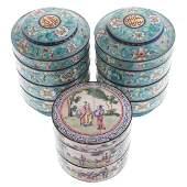 Three Chinese Canton Enamel Stacking Boxes