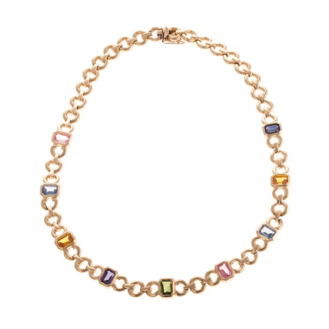 A Ladies Gemstone Necklace in 14K Gold