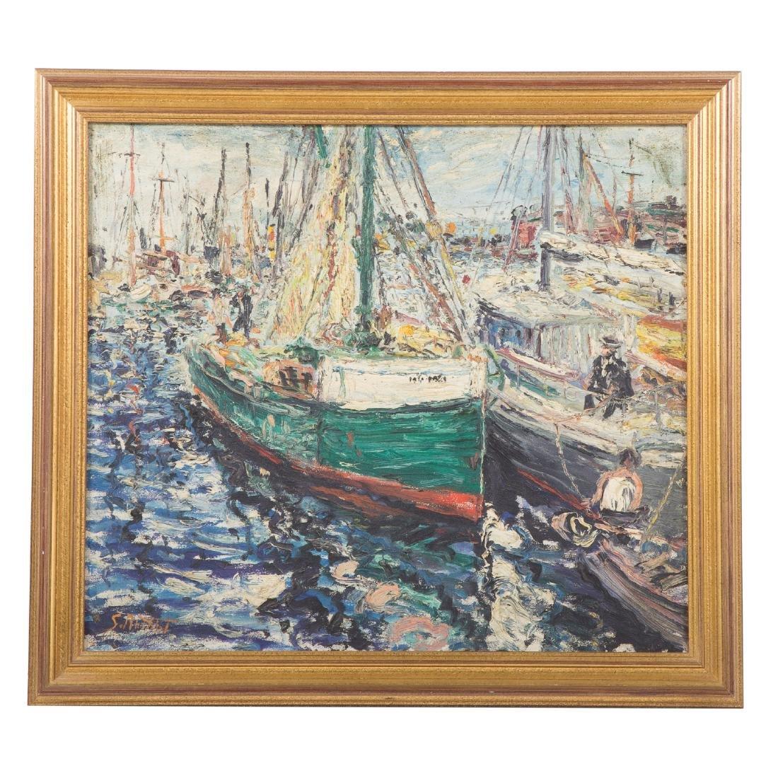 Samuel Rothbort. Impressionistic Harbor Scene