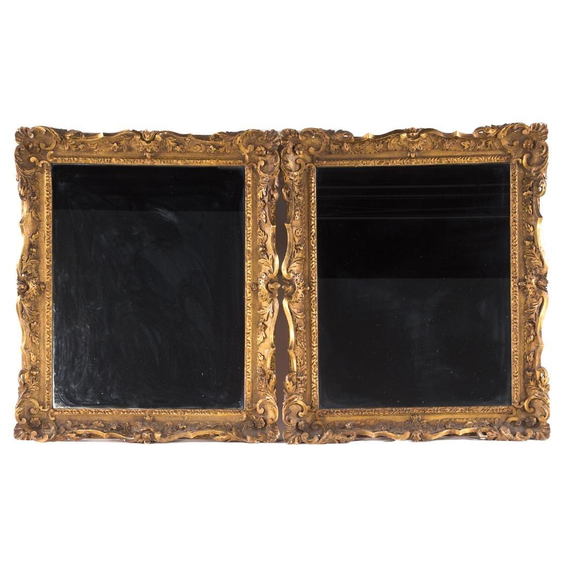Pair George III Style Carved Giltwood Mirrors