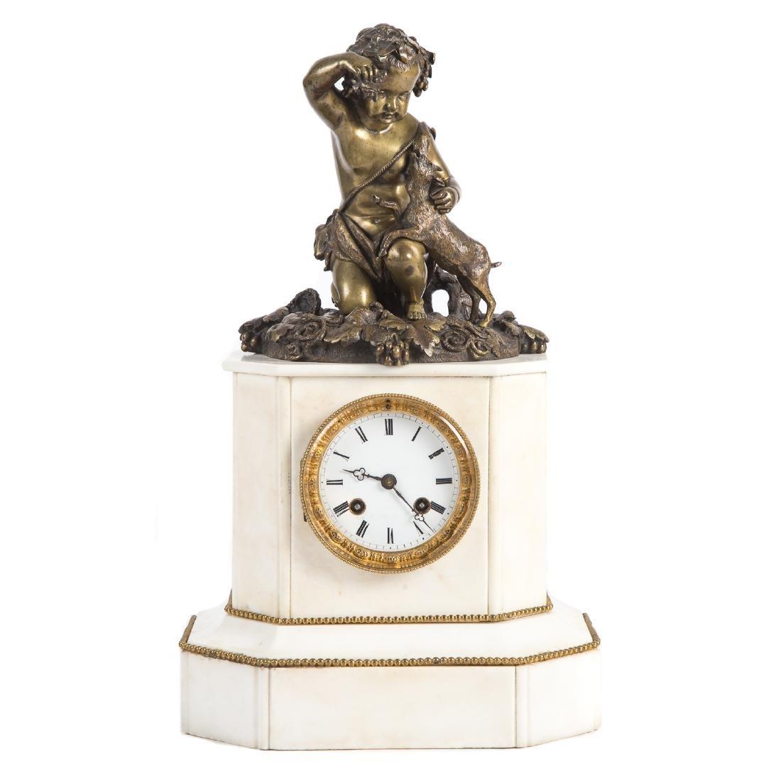 Napoleon III Marble & Bronze Figural Mantle Clock