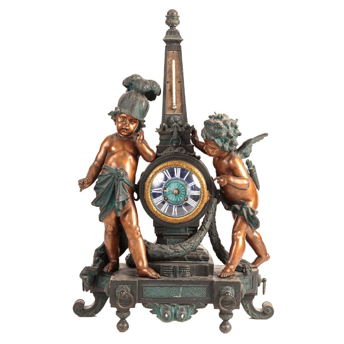 Napoleon III Spelter Figural Clock Thermometer