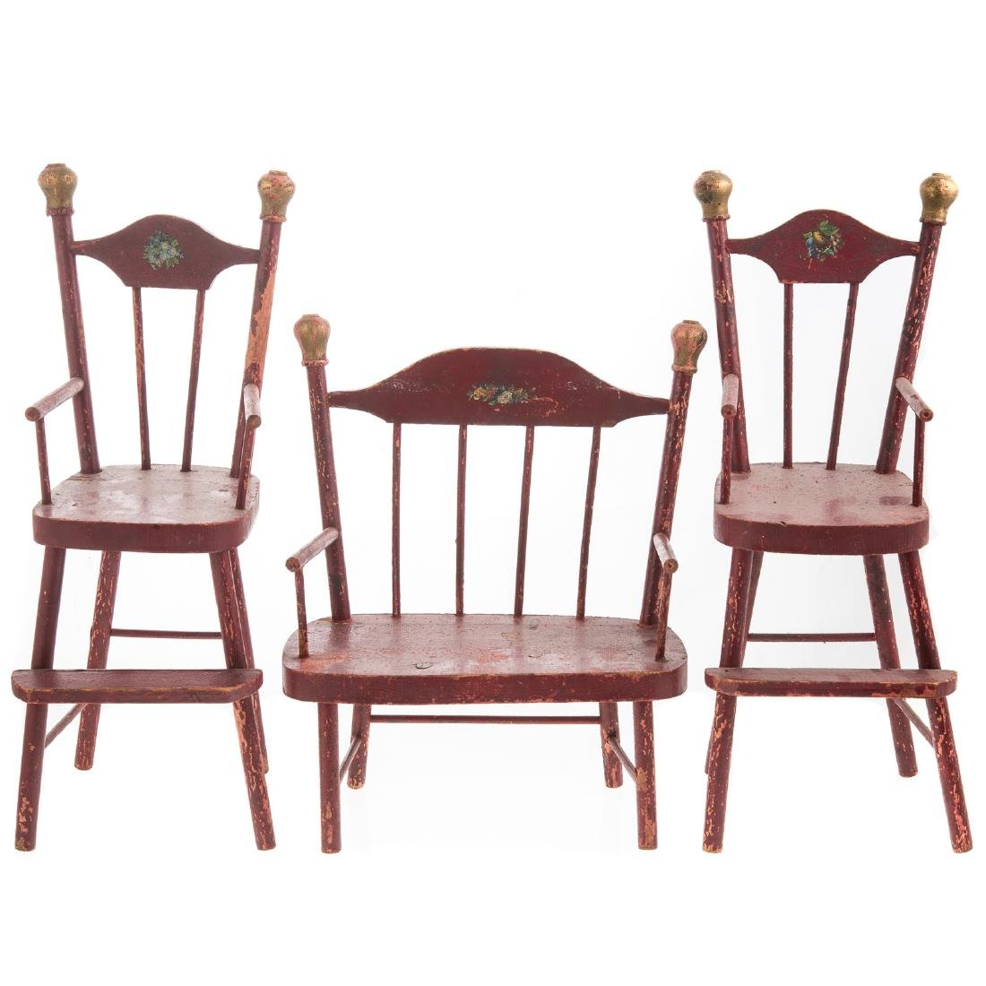 3 Piece Suite Painted Wood Windsor Doll Furniture