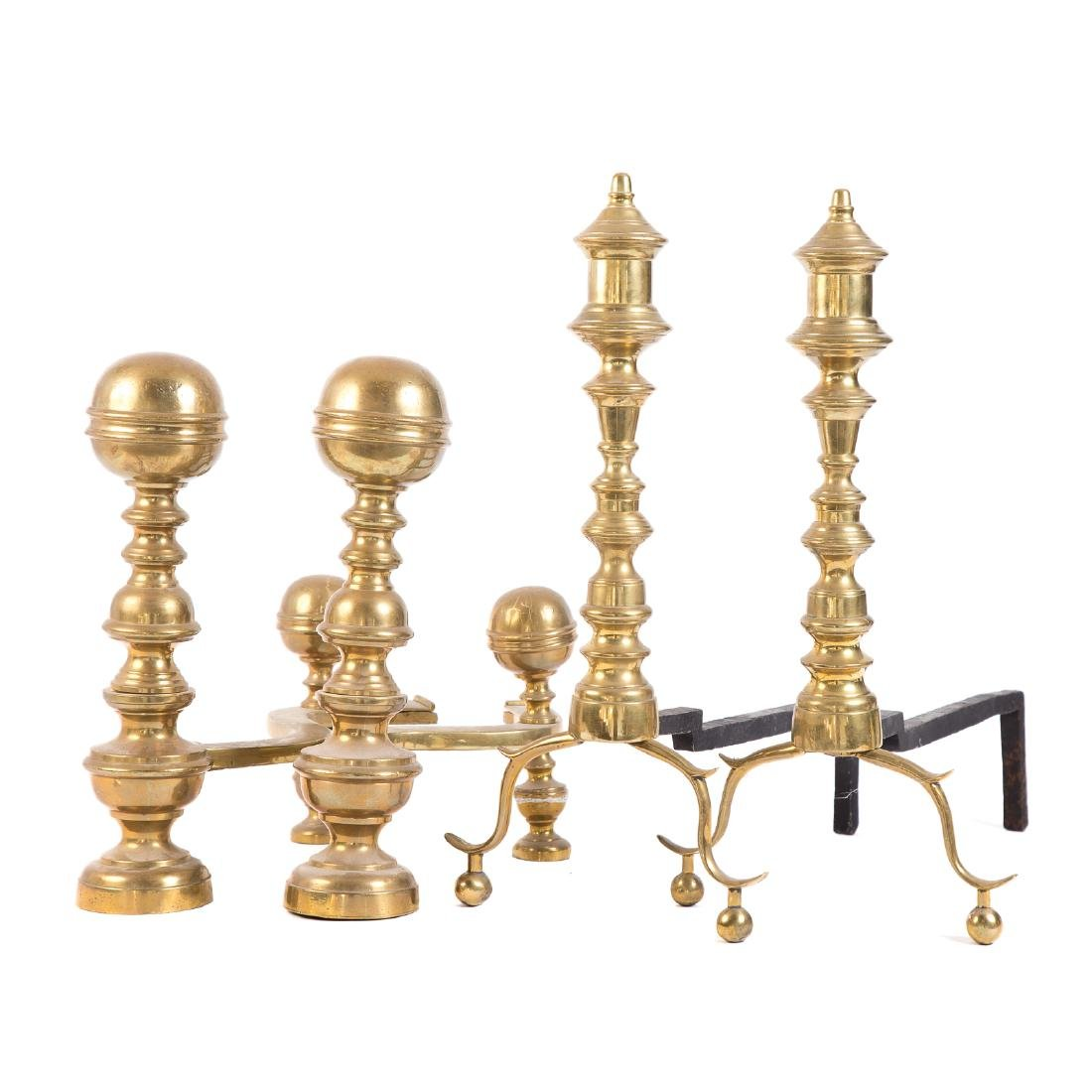 Two Pairs Federal Brass Andirons