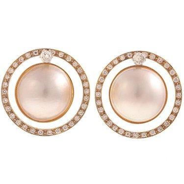 A Pair Of Diamond Mabe Pearl Earrings In 14k