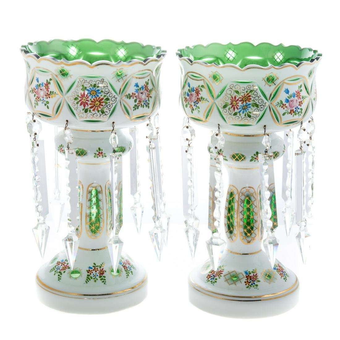 Pair Continental Cased Glass Lustres