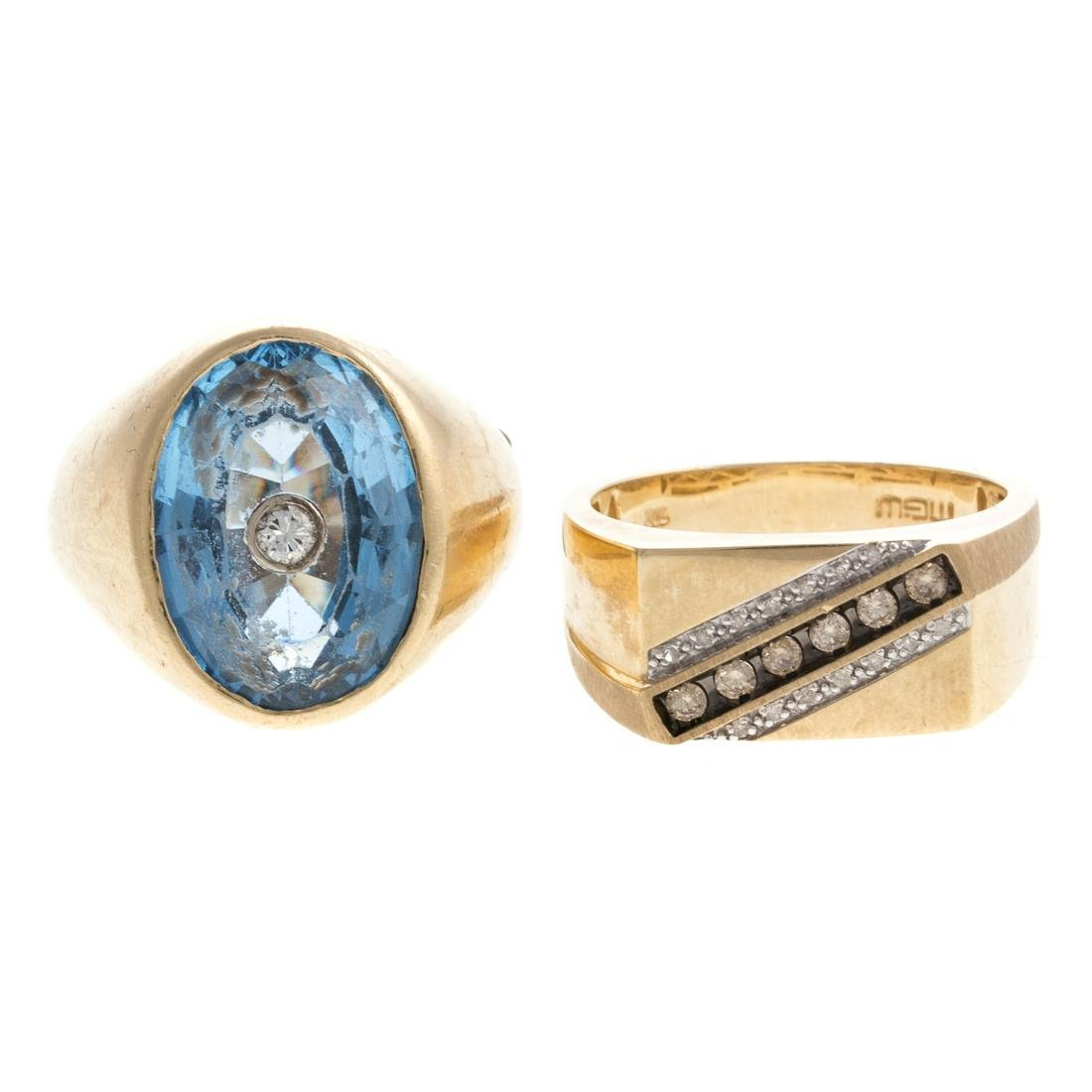 Two Gentlemen's Rings with Diamonds in Gold