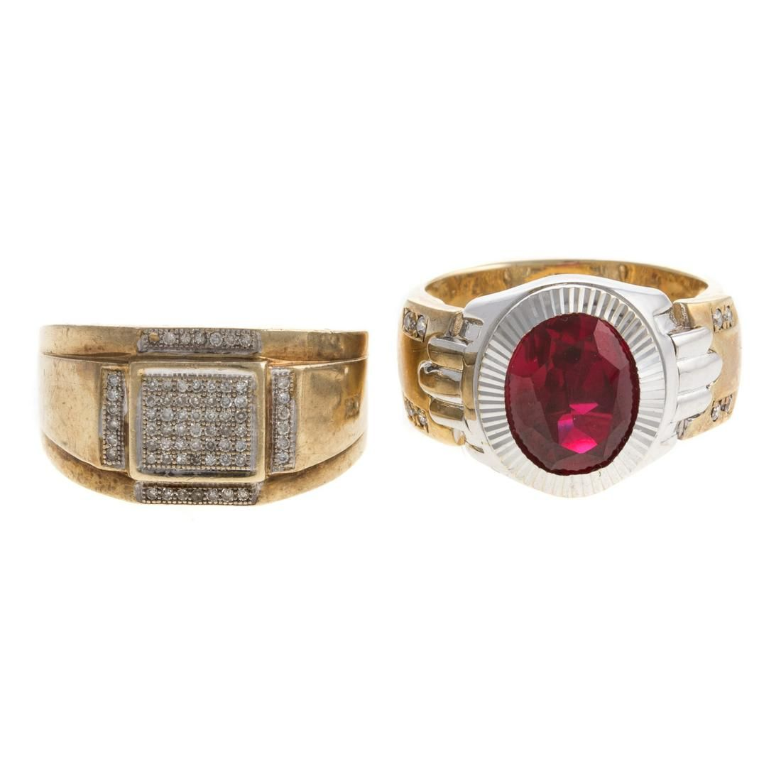 Two Gentlemens Rings with Diamonds in Gold