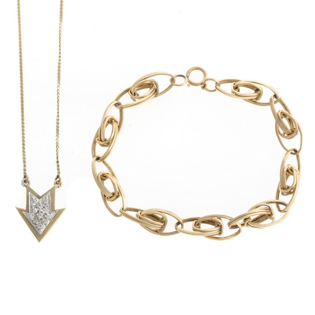 A Diamond Arrow Necklace & Link Bracelet in 14K