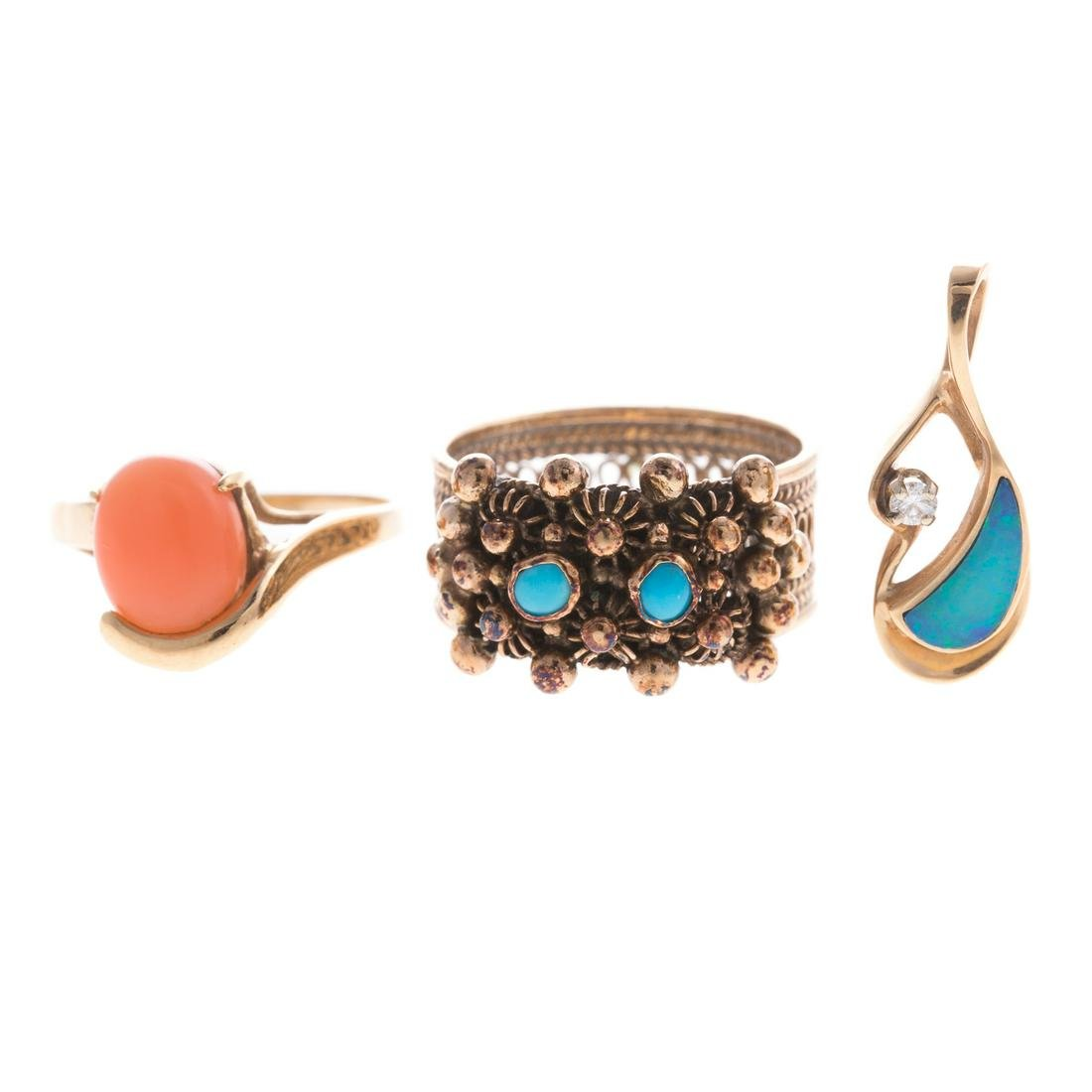 An Assortment of Gold Gemstone Jewelry