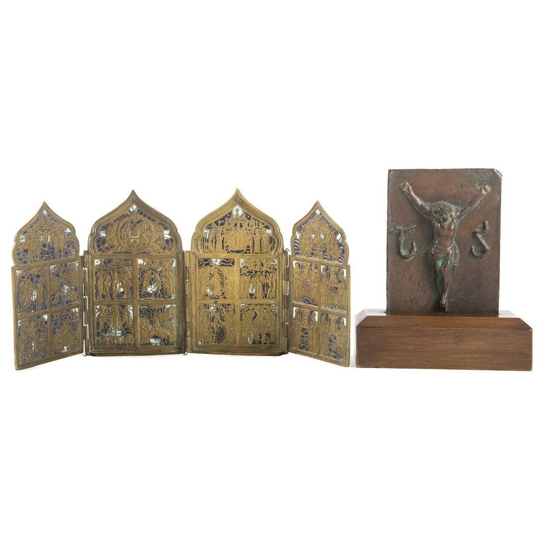 Christian Bronze Plaque & Russian Polyptych