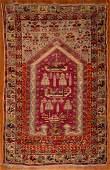 Semi-Antique Turkish Milas Prayer Rug, 3.10 x 6