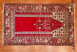 Semi-Antique Turkish Kula Prayer Rug, 4.8.x 6.9