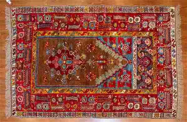Turkish Yastik Prayer Rug, 4.1 x 6.1