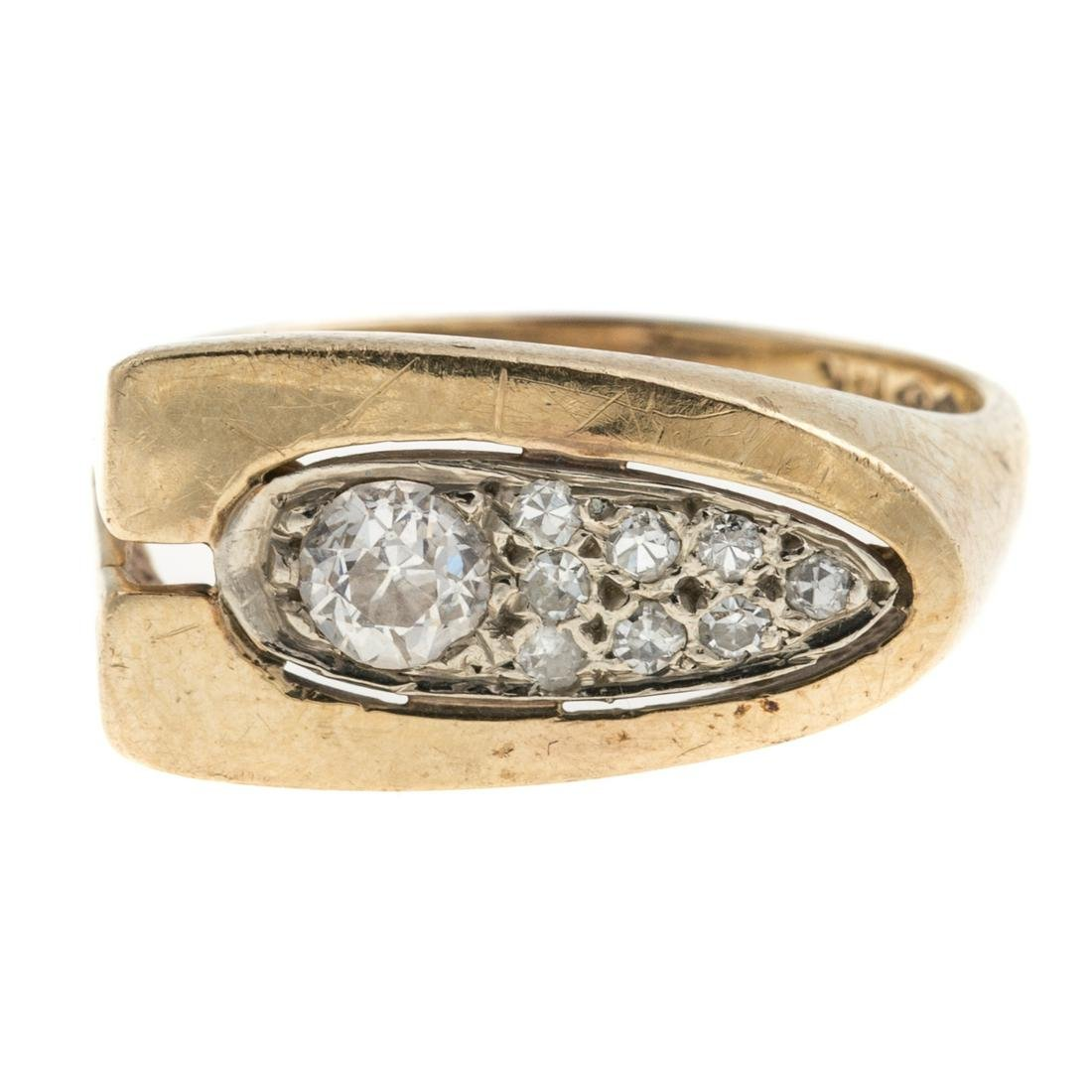 A Pave Diamond Contemporary Ring in 14K