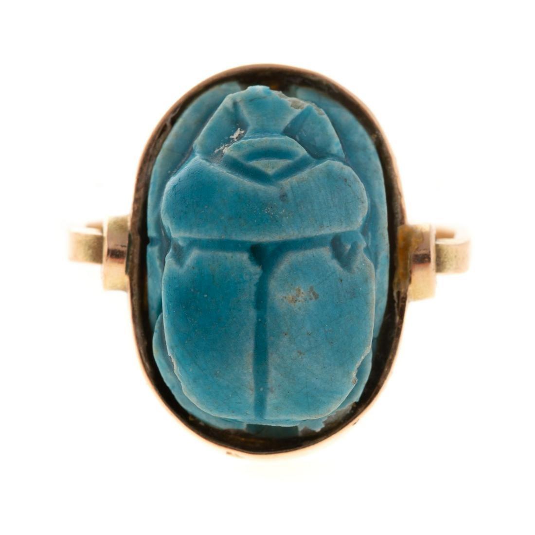 A Ladies Vintage Scarab Turquoise Ring in 14K
