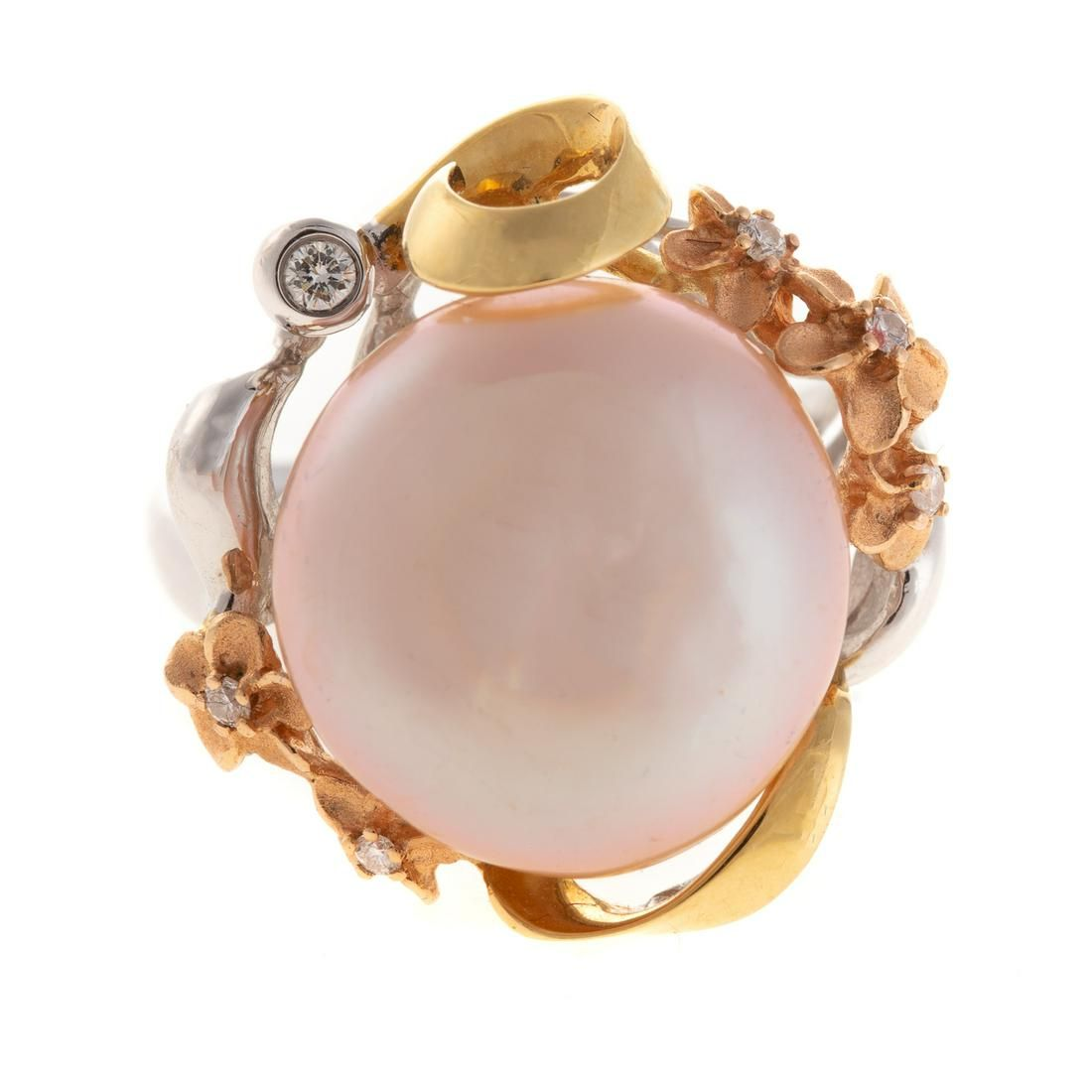 A Ladies Pearl Ring by Denny Wong in 18K Gold