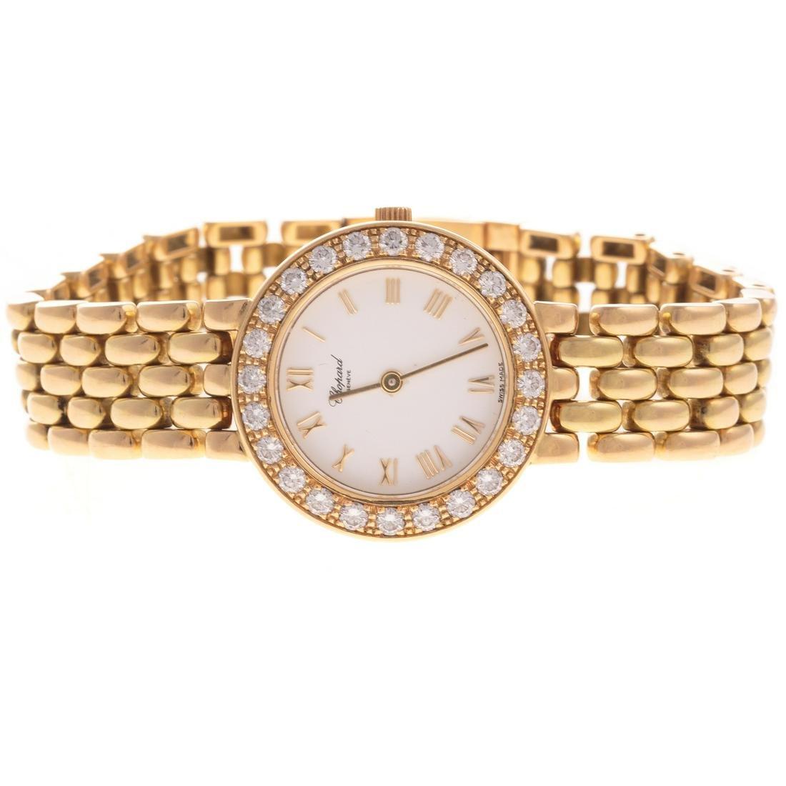 A Ladies 18K Diamond Chopard Dress Watch