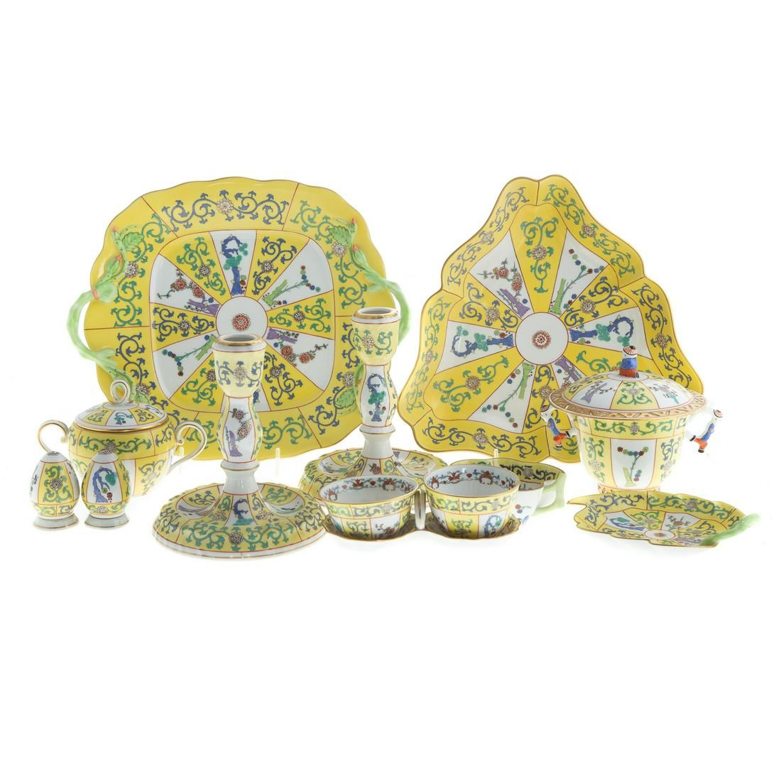 13 Herend Porcelain, Yellow Dynasty Table Articles