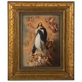 KPM Painted Porcelain Plaque Madonna Magnificant