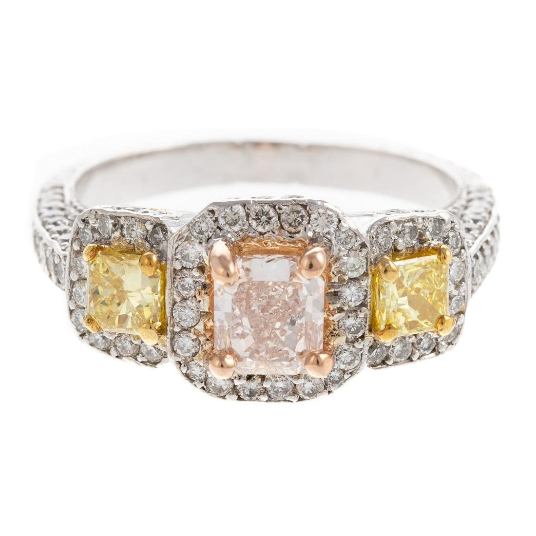 A GIA Pink & Yellow Diamond Ring in Platinum