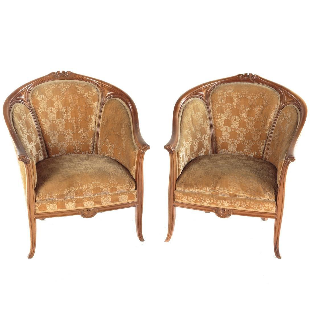 Pair French Art Nouveau Walnut Bergeres