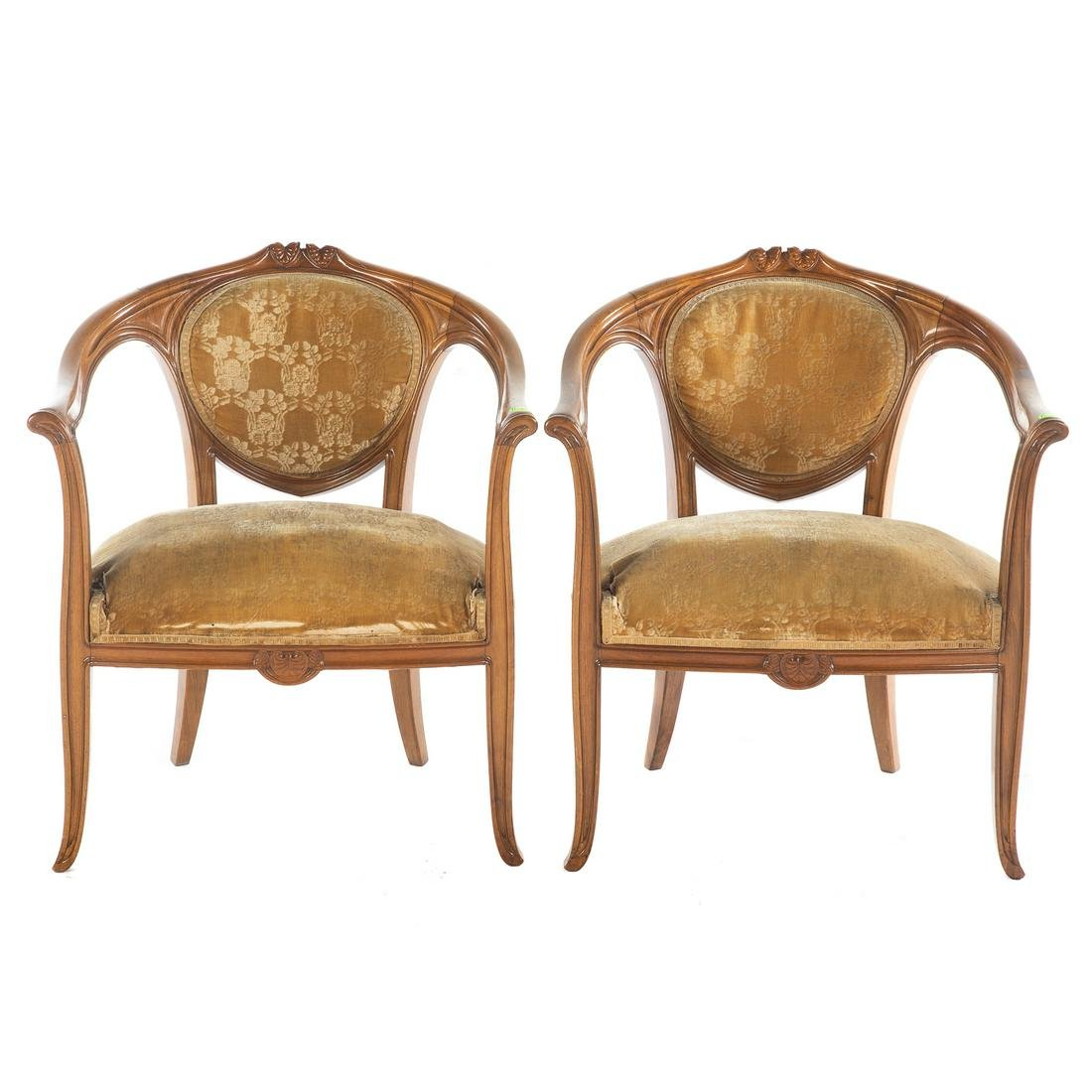 Pair French Art Nouveau Walnut Fauteuils