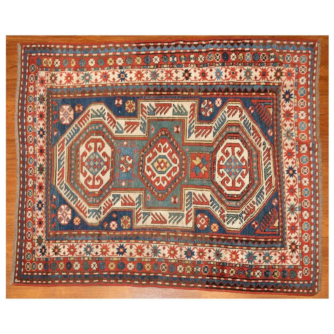 Antique Kazak Rug, Caucasus, 4 x 4.11